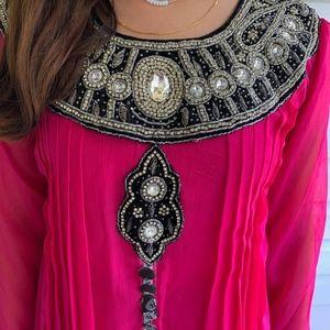 Dresses - Pink and Black Indian/Pakistani Anarkali Dress